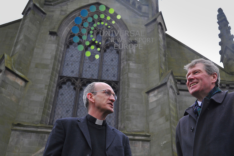Justice Secretary Kenny MacAskill visits St Mary's Cathedral in Edinburgh which had it's roof lead targeted by thieves, to announce plans to tackle the metal theft problem, Edinburgh, Scotland, 10th April, 2013. Pictured Rev Jeremy Milne.Picture:Scott Taylor Universal News And Sport (Europe) .All pictures must be credited to www.universalnewsandsport.com. (Office)0844 884 51 22.
