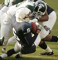State College, PA - 11/27/2010:  Penn State WR Derek Moye (6) strips the ball from MSU safety Trenton Robinson after Robinson intercepted a Matt McGloin pass.  Moye's recovery kept Penn State's fourth-quarter come-back attempt alive.  Despite the late attempt, Penn State lost to Michigan State by a score of 28-22 on Senior Day at Beaver Stadium...Photo:  Joe Rokita / JoeRokita.com..Photo ©2010 Joe Rokita Photography