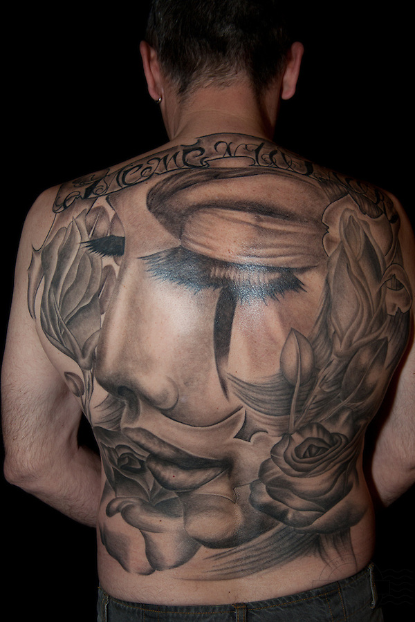 Copenhagen Inkfestival 2012. Full back piece in black and grey. Sleeping Beauty with roses.