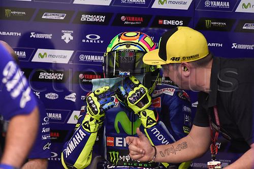 March 26th 2017, Doha, Qatar; MotoGP Grand Prix Qatar; Valentino Rossi (movistar Yamaha) ready for racing