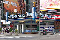 The New York Police Department station in Times Square is part of the mid-town south (14th) precinct in Manhattan, New York City, New York