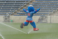 Bridgeview, IL - Saturday June 17, 2017: Chicago Red Stars mascot Supernova during a regular season National Women's Soccer League (NWSL) match between the Chicago Red Stars and the Washington Spirit at Toyota Park. The match ended in a 1-1 tie.