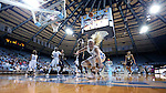 28 December 2016: North Carolina's Taylor Koenen falls out of bounds. The University of North Carolina Tar Heels hosted the Coppin State University Eagles at Carmichael Arena in Chapel Hill, North Carolina in a 2016-17 NCAA Women's Basketball game. UNC won the game 90-55.
