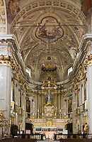 Europe/France/Provence-Alpes-Côtes d'Azur/06/Alpes-Maritimes/Alpes-Maritimes/Arrière Pays Niçois/Sospel: la cathédrale Saint-Michel - époque Baroque- la nef et le choeur