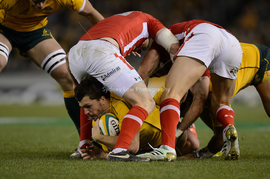 MELBOURNE, AUSTRALIA - JUNE 16: Adam Ashley-Cooper of the Wallabies hangs on to the ball during the 2nd match of the Castrol Edge Rugby series between the Australian Wallabies and Wales at Etihad Stadium. (Photo Sydney Low / sydlow.com)..Contact zumapress.com for editorial licensing.