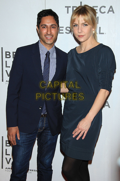 "Maulik Pancholy & Rhea Seehorn .The 2012 Tribeca Film Festival World Premiere of ""Lola Versus"" at the Tribeca Performing Arts Center, New York, NY, USA..April 24th, 2012.half 3/4 dress length suit jacket blue jeans denim.CAP/LNC/TOM.©LNC/Capital Pictures."