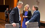 UTRECHT - KNHB Hockeycongres 2016.  Rabobank bestuurder Rien Nagel, Heleen Crielaard en dagvoorzitter Jan Bart Wildschut.   Foto Koen Suyk.