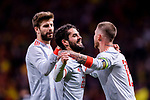 Sergio Ramos of Spain (R) hugs Isco Alarcon (L) while celebrates a score during the International Friendly 2018 match between Spain and Argentina at Wanda Metropolitano Stadium on 27 March 2018 in Madrid, Spain. Photo by Diego Souto / Power Sport Images