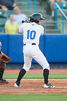 Douglas Duran (10) of the Hudson Valley Renegades at bat against the Brooklyn Cyclones at Dutchess Stadium on June 18, 2014 in Wappingers Falls, New York.  The Cyclones defeated the Renegades 4-3 in 10 innings.  (Brian Westerholt/Four Seam Images)