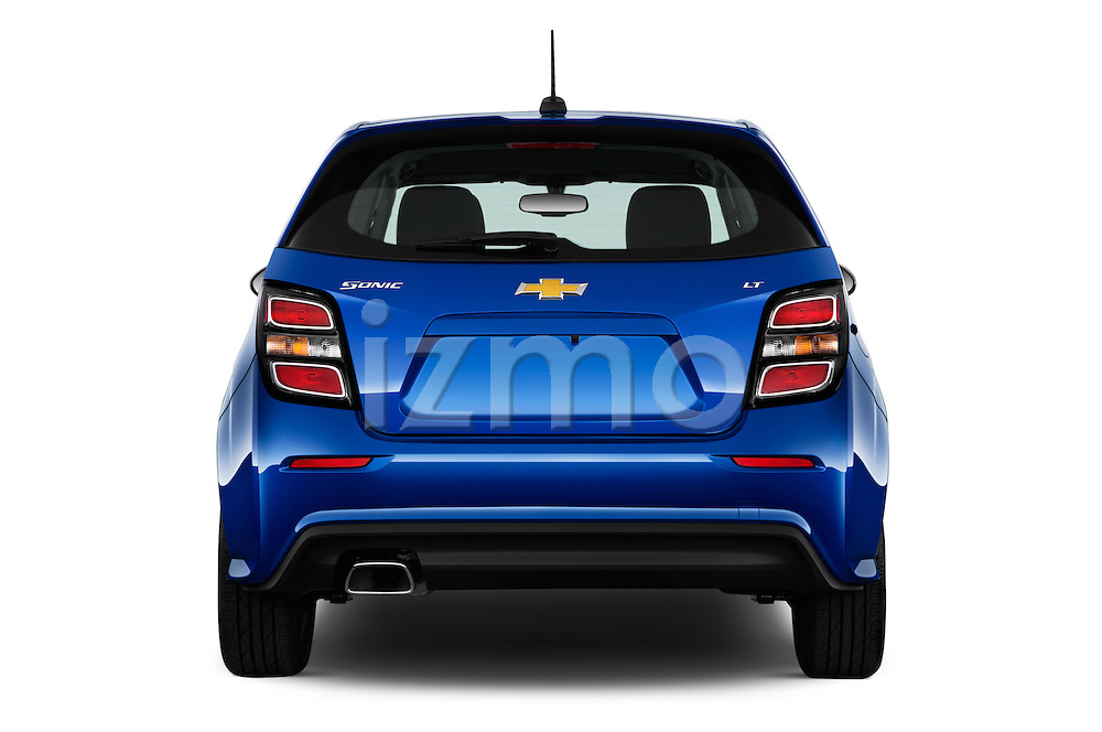Straight rear view of 2017 Chevrolet Sonic LT 5 Door Hatchback Rear View  stock images