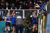 Joe Cokanasiga of Bath Rugby celebrates his second half try with the crowd. Gallagher Premiership match, between Bath Rugby and Sale Sharks on December 2, 2018 at the Recreation Ground in Bath, England. Photo by: Patrick Khachfe / Onside Images