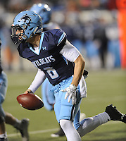 NWA Democrat-Gazette/ANDY SHUPE<br /> Fuller Chandler of Har-Ber scrambles against Fayetteville Saturday, Dec. 5, 2015, during the first half of the Class 7A state championship game at War Memorial Stadium in Little Rock. Visit nwadg.com/photos to see more photographs from the game.
