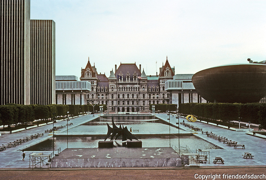 """Albany: The """"South Mall"""" or Governor Nelson A. Rockefeller Empire State Plaza--looking towards State Capitol. Photo '88."""