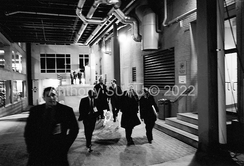 Greenville, South Carolina.USA.January 29, 2004..General Wesely Clark and hisclose staff leave the spin room after the national debate and head to a private party.