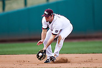 Brent Seifert (4) of the Missouri State Bears fields a ground ball during a game against the Oklahoma State Cowboys at Hammons Field on March 6, 2012 in Springfield, Missouri. (David Welker / Four Seam Images)