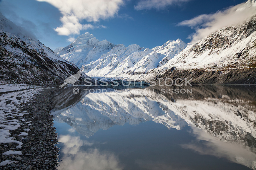 Mirror reflections of Aoraki Mt Cook, the Cook Range and the Southern Alps from Hooker Glacier Terminal Lake.  Aoraki Mt Cook National Park, South Canterbury New Zealand. (Retro, Instragram, Vintage toning)
