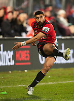 Richie Mo'unga of the Crusaders during the 2018 Super Rugby final between the Crusaders and Lions at AMI Stadium in Christchurch, New Zealand on Sunday, 29 July 2018. Photo: Joe Johnson / lintottphoto.co.nz