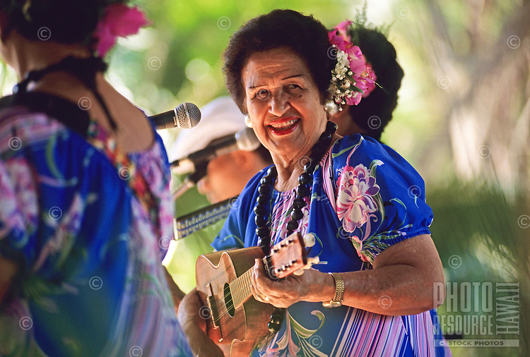 Hawaiian entertainer, Genoa Keawe, performs at Ka Hula Piko Festival, Moloka'i