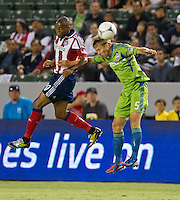 CARSON, CA - August 25, 2012: Chivas USA forward Tristan Bowen (20) and Seattle defender Adam Johansson (5) during the Chivas USA vs Seattle Sounders match at the Home Depot Center in Carson, California. Final score, Chivas USA 2, Seattle Sounders 6.