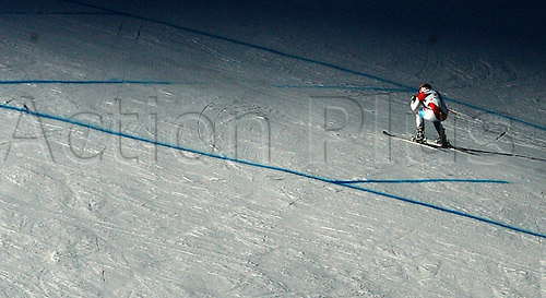 16.12.2010 Didier Cuche of Switzerland skiing in second training of Men downhill race of Audi FIS alpine skiing World Cup in Val Gardena, Italy. Second training of downhill race of Men Audi FIS Alpine skiing World Cup 2010-11, was held on Thursday, 16th of December 2010, on Saslong course in Val Gardena, Italy.