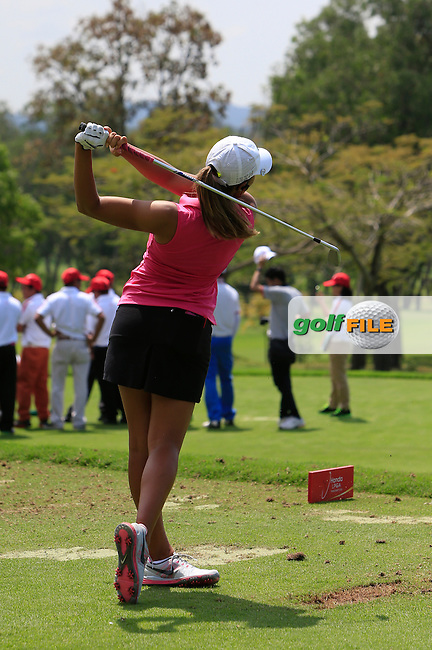 Cheyenne Woods (USA) on the driving range during the Tuesday Practice Day of the Honda LPGA at the Siam Country Club Old Course in Pattaya on Tuesday 24th February 2015.<br /> Picture:  Thos Caffrey / www.golffile.ie