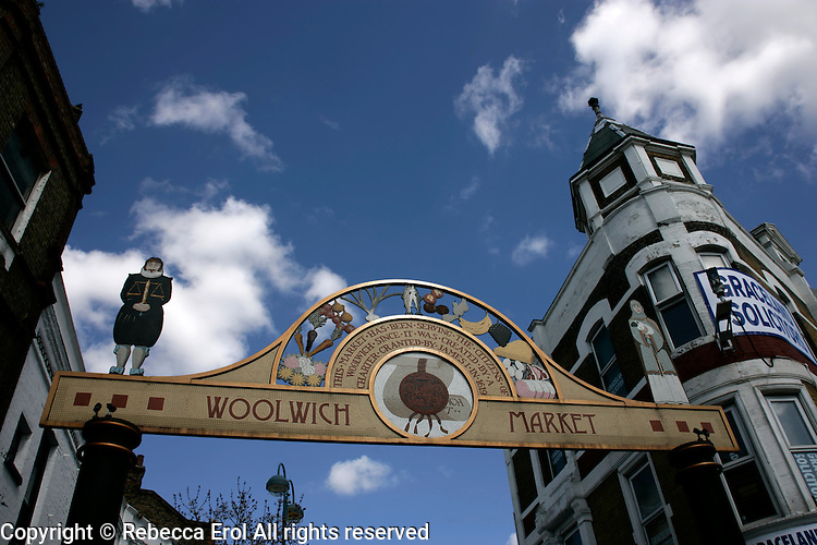 Entrance to Woolwich Market, Woolwich, southeast London, UK