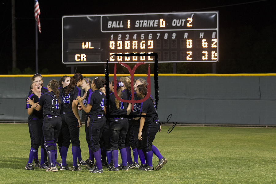 Cedar Ridge softball celebrate their 2-0 win over Westlake in the Bi-District Game held at Noack Field in Austin.  (LOURDES M SHOAF for Round Rock Leader.)