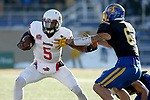 BROOKINGS, SD - NOVEMBER 11: Malachi Broadnax #5 from Illinois State looks to shake to grasp of Makiah Slade #6 from South Dakota State University during their game Saturday afternoon at Dana J. Dykhouse Stadium in Brookings. (Photo by Dave Eggen/Inertia)