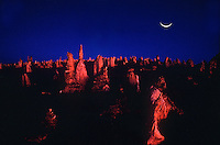 Crest Moon during Twilight in the Pinnacel Desert Western Australia