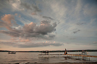 Evening on the shore of Chautauqua Lake behind the Miller Bell Tower. Chautauqua, NY. June 27, 2014. Photo by Brendan Bannon