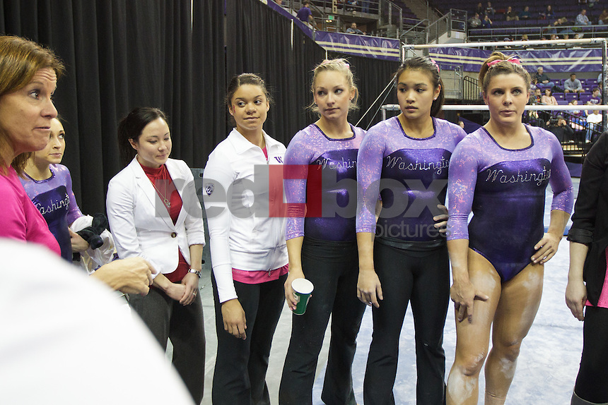 Paige Bixler, Phoebe Tham, Lauren Rogers, Doris Lynk..----Washington Huskies gymnastics tri-meet vs Louisiana State University and Seattle Pacific University at Alaska Airlines Arena at Hec Edmundson Pavilion in Seattle on Friday, February 17, 2012. (Photo by Dan DeLong/Red Box Pictures)