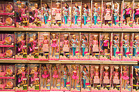 The Barbie display at Toys R Us in Times Square in New York on Tuesday, November 25, 2014. According to a recent survey for the first time in eleven years Barbie is not the top pick for girls having been replaced by Anna and Elsa of Frozen.   (© Richard B. Levine)