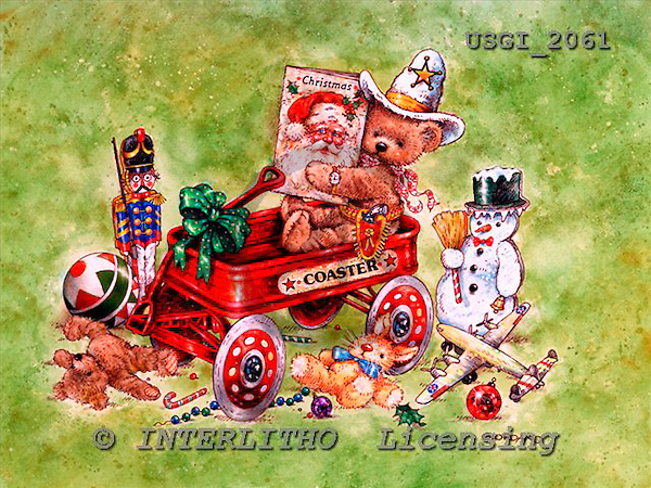 GIORDANO, CHRISTMAS ANIMALS, WEIHNACHTEN TIERE, NAVIDAD ANIMALES, Teddies, paintings+++++,USGI2061,#XA#