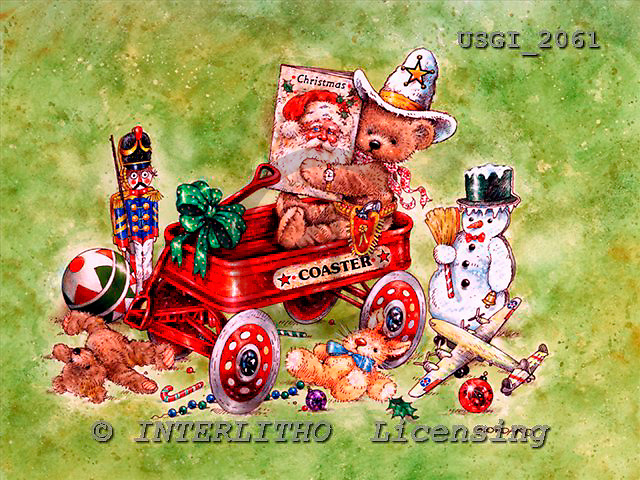 GIORDANO, CHRISTMAS ANIMALS, WEIHNACHTEN TIERE, NAVIDAD ANIMALES, Teddies, paintings+++++,USGI2061,#XA#