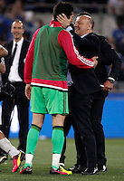 Calcio, finale Tim Cup: Milan vs Juventus. Roma, stadio Olimpico, 21 maggio 2016.<br /> Juventus&rsquo; goalkeeper Gianluigi Buffon, left, is congratulated by CEO Giuseppe Marotta at the end of the Italian Cup final football match between AC Milan and Juventus at Rome's Olympic stadium, 21 May 2016. Juventus won 1-0 in the extra time.<br /> UPDATE IMAGES PRESS/Isabella Bonotto