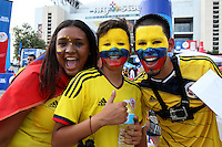 HOUSTON - UNITED STATES, 11-06-2016: Hinchas de Colombia animan a su equipo previo al partido del grupo A, fecha 3, entre Colombia (COL) y Costa Rica (CRC)  por la Copa América Centenario USA 2016 jugado en el estadio NRG en Houston, Texas, USA. /  Fans of Colombia cheer their team prior the match of the group A  between Colombia (COL) and Costa Rica (CRC) for the date 3 of the Copa América Centenario USA 2016 played at NRG stadium in Houston, Texas ,USA. Photo: VizzorImage/ Luis Alvarez /Str