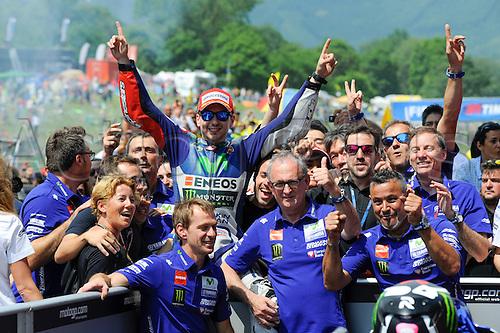 31.05.2015.  Mugello, Italy. MotoGP. Gran Premio d'Italia TIM. Jorge Lorenzo (Movistar Yamaha) celebrates winning the race