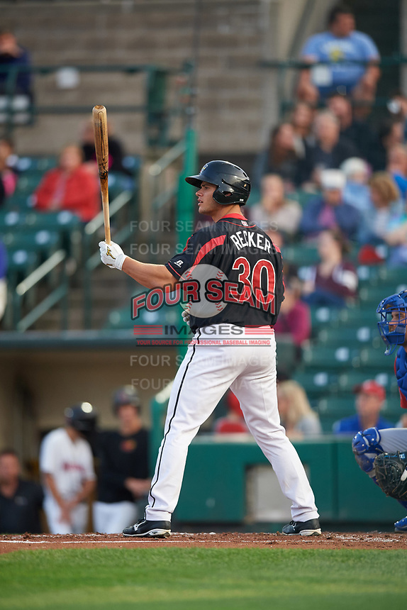 Rochester Red Wings catcher Anthony Recker (30) at bat during a game against the Buffalo Bisons on August 25, 2017 at Frontier Field in Rochester, New York.  Buffalo defeated Rochester 2-1 in eleven innings.  (Mike Janes/Four Seam Images)