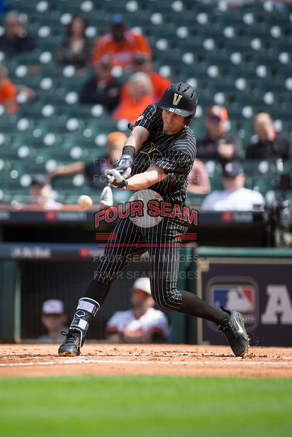 JJ Bleday (51) of the Vanderbilt Commodores makes contact with the baseball during the game against the Sam Houston State Bearkats in game one of the 2018 Shriners Hospitals for Children College Classic at Minute Maid Park on March 2, 2018 in Houston, Texas.  The Bearkats walked-off the Commodores 7-6 in 10 innings.   (Brian Westerholt/Four Seam Images)