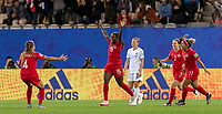 GRENOBLE, FRANCE - JUNE 15: Nichelle Prince #15 of the Canadian National Team celebrates her goal with teammates during a game between New Zealand and Canada at Stade des Alpes on June 15, 2019 in Grenoble, France.
