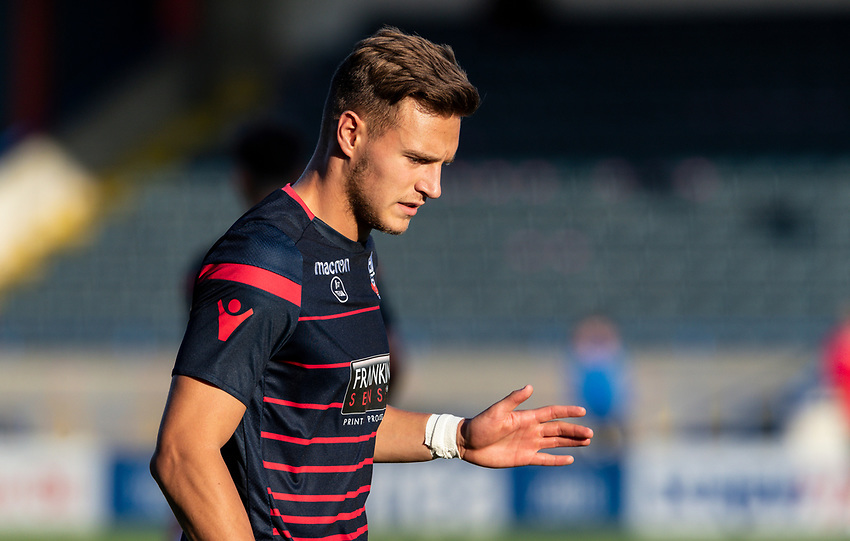 Bolton Wanderers' Dennis Politic warming up before the match <br /> <br /> Photographer Andrew Kearns/CameraSport<br /> <br /> The Carabao Cup First Round - Rochdale v Bolton Wanderers - Tuesday 13th August 2019 - Spotland Stadium - Rochdale<br />  <br /> World Copyright © 2019 CameraSport. All rights reserved. 43 Linden Ave. Countesthorpe. Leicester. England. LE8 5PG - Tel: +44 (0) 116 277 4147 - admin@camerasport.com - www.camerasport.com