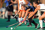 19 September 2014: Duke's Ashley Kristen (CAN) (4). The Duke University Blue Devils hosted the University of Virginia Cavaliers at Jack Katz Stadium in Durham, North Carolina in a 2014 NCAA Division I Field Hockey match. Virginia won the game 2-1.