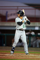 Clinton LumberKings outfielder Austin Cousino (26) at bat during a game against the Burlington Bees on August 20, 2015 at Community Field in Burlington, Iowa.  Burlington defeated Clinton 3-2.  (Mike Janes/Four Seam Images)