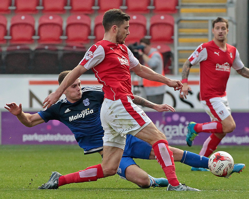 Rotherham United's Lewis Buxton is tackled by Cardiff City's Joe Ralls<br /> <br /> Photographer David Shipman/CameraSport<br /> <br /> Football - The Football League Sky Bet Championship - Rotherham United v Cardiff City - Saturday 19th September 2015 - AESSEAL New York Stadium - Rotherham<br /> <br /> &copy; CameraSport - 43 Linden Ave. Countesthorpe. Leicester. England. LE8 5PG - Tel: +44 (0) 116 277 4147 - admin@camerasport.com - www.camerasport.com