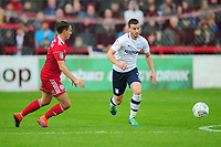 Preston North End's Marnick Vermijl under pressure from Accrington Stanley's Sean McConville<br /> <br /> Photographer Kevin Barnes/CameraSport<br /> <br /> The Carabao Cup - Accrington Stanley v Preston North End - Tuesday 8th August 2017 - Crown Ground - Accrington<br />  <br /> World Copyright &copy; 2017 CameraSport. All rights reserved. 43 Linden Ave. Countesthorpe. Leicester. England. LE8 5PG - Tel: +44 (0) 116 277 4147 - admin@camerasport.com - www.camerasport.com