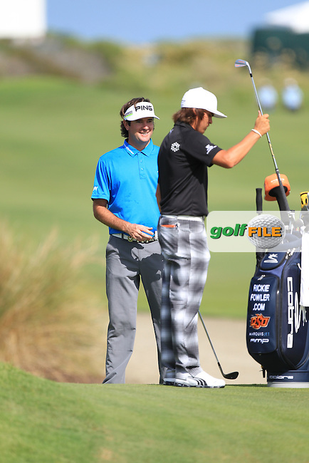 Bubba Watson and Rickie Fowler (USA) on the 6th green during Wednesday's practice day of the 2012 PGA Golf Championship at The Ocean Course, Kiawah Island, South Carolina, USA 7th August 2012 (Photo Eoin Clarke/www.golffile.ie)