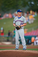 South Bend Cubs starting pitcher Brendan King (24) gets ready to deliver a pitch during a game against the Kane County Cougars on July 23, 2018 at Northwestern Medicine Field in Geneva, Illinois.  Kane County defeated South Bend 8-5.  (Mike Janes/Four Seam Images)