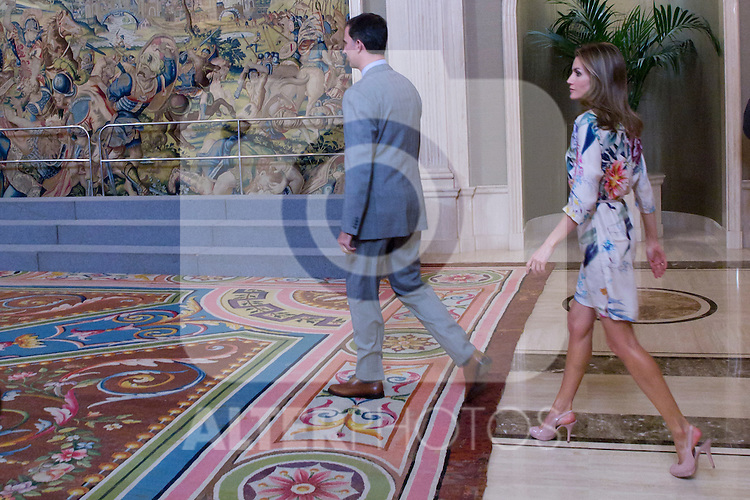 18.07.2012. Prince Felipe of Spain and Princess Letizia of Spain attends the participants in the 11th Edition of the 'Programme Balboa for Young Ibero Journalists', chaired by Mr. Luis Abril Pérez at the Zarzuela Palace in Madrid. In the image Prince Felipe and Princess Letizia (Alterphotos/Marta Gonzalez)