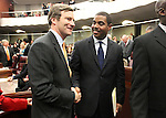 Sente Majority Leader Steven Horsford, D-North Las Vegas, right, greets Sen. Greg Brower, R-Reno, prior to Governor Brian Sandoval's State of the State address Monday, Jan. 24, 2011, at the Legislature in Carson City, Nev. Brower was recently appointed after Sen. Bill Raggio's retirement..Photo by Cathleen Allison