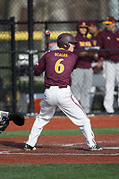 Sean Scales (6) of the Iona Gaels at bat against the Rutgers Scarlet Knights at City Park on March 8, 2017 in New Rochelle, New York.  The Scarlet Knights defeated the Gaels 12-3.  (Brian Westerholt/Four Seam Images)